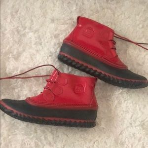 Sorel Bright Red Ankle Rain boots